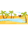 sandy landscape with blue lake brown camel and vector image
