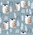 seamless pattern with cute floral owls and hand vector image
