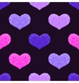 Seamless pattern with low poly hearts vector image