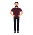self confident bearded guy a man stands in a vector image vector image