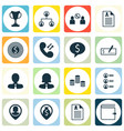 set of 16 hr icons includes bank payment wallet vector image vector image
