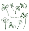 Set of ink drawing clover leaves vector image vector image