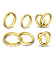 set of realistic of gold vector image