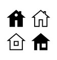 simple black and white house icons vector image vector image