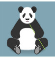 sitting panda with bamboo stick isolated on color vector image
