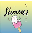summer ice cream with bite colorful background vec vector image vector image