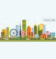 tianjin skyline with color buildings and blue sky vector image vector image
