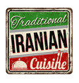 traditional iranian cuisine vintage rusty metal vector image vector image