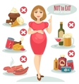 unhealthy food for pregnant woman vector image vector image