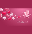 Valentines day greeting card with cupid and hearts