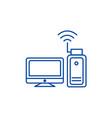 wi fi adapterwireless line icon concept wi fi vector image vector image
