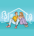 young couple boy and girl dreams about the house vector image
