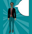 young fashion man in suit pop art portrait vector image vector image