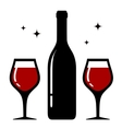 isolated bottle and wine glasses icon vector image