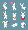 easter cute happy bunny rabbit characters vector image