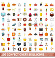100 confectionery skill icons set flat style