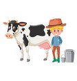 a dairy farmer on white background vector image