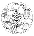 A set of hand-drawn icons fruits inscribed in a vector image vector image