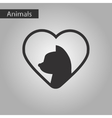 black and white style icon cat heart vector image