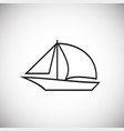 boat with sail thin line on white background vector image vector image