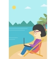 Business woman working on laptop on the beach vector image vector image