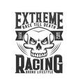car races hotrod or hot rod skull t shirt print vector image vector image
