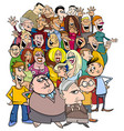 cartoon people characters in the crowd vector image vector image