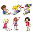 Children reading and writing vector image vector image