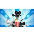 Cinematograph in cinema films and popcorn vector image vector image