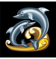 collection mascots statuette dolphins vector image vector image