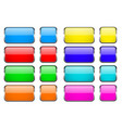 colored rectangle glass 3d buttons with metal vector image vector image