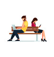 couple of young people of sitting on the bench vector image