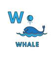 cute cartoon animals alphabet whale vector image