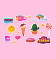 cute stickers set with rainbow heart and sweets vector image
