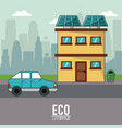 eco lifestyle home house car transport city vector image vector image