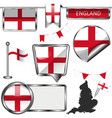 glossy icons with flag of england united kingdom vector image vector image