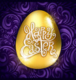 golden egg happy easter with decorative violet vector image vector image