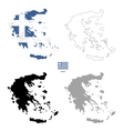 Greece country black silhouette and with flag on vector image vector image