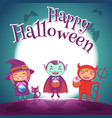 halloween poster with kids in costumes of witch vector image