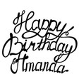 happy birthday amanda name lettering vector image vector image