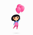 happy young girl character flying with pink vector image