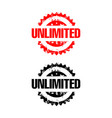 letter unlimited red rubber stamp design vector image vector image