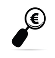 magnifier with euro black vector image