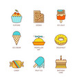 minimal lineart flat sweet food iconset vector image