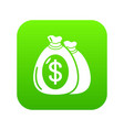 money bag icon green vector image
