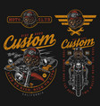 motorcycle vintage colorful badges vector image vector image