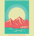 mountain lake nature landscape on retro poster vector image vector image