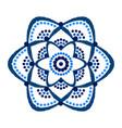 painted blue flower dots mandala vector image