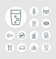 restaurant icons set with table glass roasted vector image
