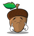 sad acorn cartoon character style vector image vector image